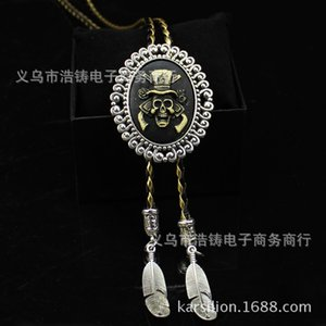 Man Bolo Tie Skull Women Bola Tie PU Leather Necklace Sweater Chain Men Pendant Vintage Males Accessories Fashion Metal Kravat