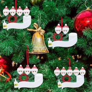 Top Seller 2020 Christmas Ornament DIY Christmas Decoration Snowman with Face Mask Christmas Tree PVC Hanging Pendant