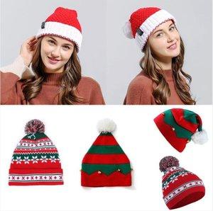 Chapéus de Natal do floco de neve Xmas Malha Caps Decoração de Natal Xmas listrado Beanie Natal lã Pom Pom Hat Para filhos adultos LSK955