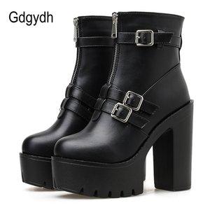 Gdgydh atractivo hebilla botas cortas Cremallera Mujer plaza de los altos talones del resorte del otoño gótico Cuero Negro Sólido básico Botas Mujeres