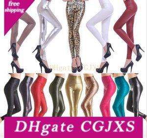 10pcs atractivo de las mujeres flacas de imitación de cuero estiramiento de cintura alta jadean las medias 4 Tamaño M068