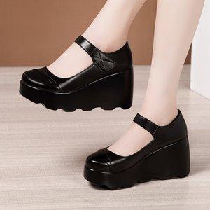 Платье обувь на высоком каблуке клинья круглые головки обуви женские платформы белые каблуки дамы