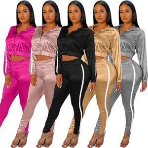 womens hoodie legging two piece set outfits long sleeve tracksuit jacket pants sportswear panelled outerwear tights sports set H232