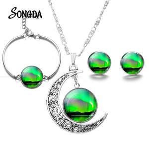 الأخضر الشفق القطبي الشمالي مجموعات مجوهرات سحر أورورا بورياليس فن الزجاج كابوشون القمر قلادة سوار أقراط هدية