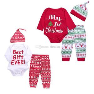 Kids Xmas Long sleeve Letter romper top + Leopard Snowflake Deer Print pants + Elk Hat 3pcs set Toddler Christmas Children outfits M614