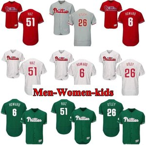 남성 여성 청소년 Phillies 저지 # 6 Ryan Howard 26 Chase Utley 51 Carlos Ruiz 홈 레드 블랙 그레이 화이트 키즈 소녀 야구 유니폼