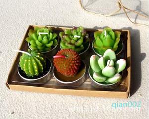 6pcs 1set Plant Simulation decorativo Velas de boda Mini Cactus Vela Tabla luz del té de jardín de vela del partido decoraciones caseras SN2583