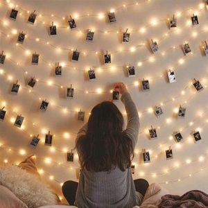 5m / 10m Fotoğraf Klip Işıklar Led Usb Açık Pil Ev Dekorasyon Dize Işıklar için mandal ile Garland İşletilen