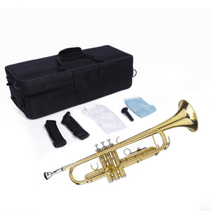 New Beginners Lacquer Gold B-Shaped Brass Trumpet and Glove Set with Box for Student School Band Gold