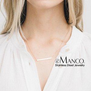 e-Manco simples e elegante Colar de aço inoxidável para as mulheres Moda Estilo coreano colares Jóias Declaração Colar