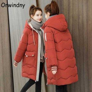 Brasão Orwindny Inverno Mulheres Plus Size S-3XL longo parkas com capuz Feminino Casacos Zipper bolsos grandes Wear acolchoados Roupa das senhoras de neve