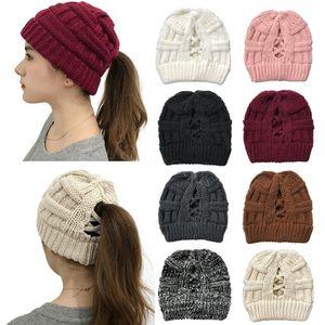 Kadınlar Örme at kuyruğu Yüksek Criss çapraz at kuyruğu Beanie Kış Sıcak Örgü Casual Şapka Noel Partisi Şapkalar 8 stilleri DA999 Caps