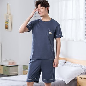 Pijama de Verão Cotton completa Manga Curta Men Define Masculino Pajama Set Letter Pajama For Men Pijamas Suit Homewear Plus Size 4XL