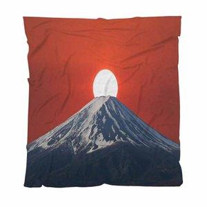 Sunset Mantas personalizados de otoño de colores integrales de impresión digital franela Puesta del sol detrás del sofá Mt / Silla / asiento de amor / autocaravana Manta