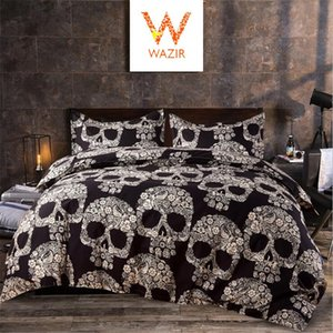 WAZIR 3D Cartoon Skull Pattrern Bedding Sets Single Double Queen King Size Duvet Cover Pillowcase Bed Set Bedspreads Bed Linens