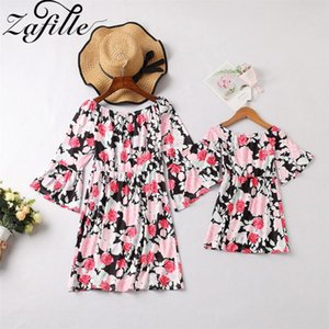 ZAFILLE Family Matching Clothes Half Sleeve Floral Printed Off Shoulder Mother Daughter Dresses Family Look Mommy and Me Clothes
