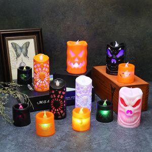 هالوين زينة LED أضواء الشموع متوهجة القرع شمعة فانوس هالوين اللباس الدعائم بات والهيكل العظمي 12 نمط XD23992
