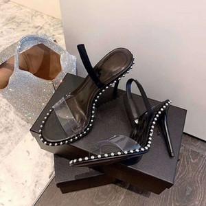 2020 المرأة مصمم الكعب العالي حزب أزياء المسامير الفتيات مثير الأحذية وأشار الرقص أحذية زفاف مزدوج الأشرطة الصنادل