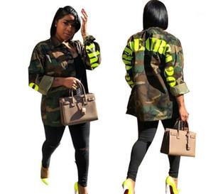 Tek Breasted Bahar Kadınlar Camouflage ile ceketler Moda Kadın Harf Baskılı Coats Casual Yaka Boyun Coat