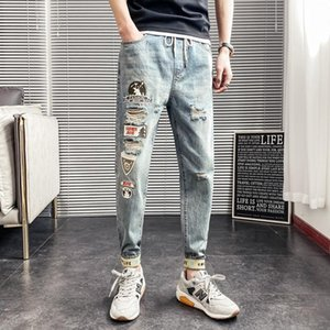 Summer 2020 Fashion Denim teenagers ankle length jeans men's embroidery patch loose holes thin feet casual long pencil pants men