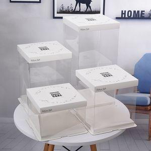 Белые Картонные ПВХ торт коробки Упаковочная коробка красиво упакованные Свадеб торт хранения Бисквит бумаги Box Контейнеры