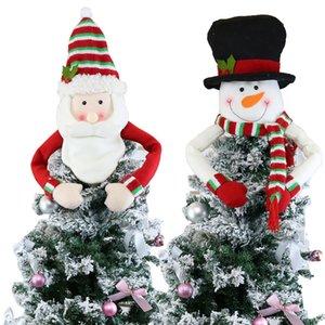 Invierno grande del árbol de navidad Decoración de Santa muñeco de nieve de Navidad del reno de Hugger de vacaciones ornamento de fiesta OOA8474