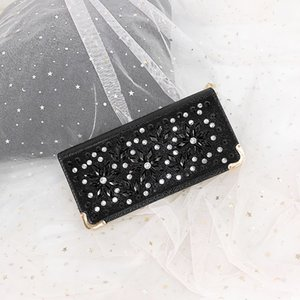 Women's metal horizontal square style fashion all-match fashionable wallet diamond hand bag evening banquet bag