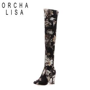 ORCHA LISA Slim Boot sur la cuisse bottes hautes automne genou hiver chaussures femme Botas feiminino talon épais de couleur B1103 mujer mixte