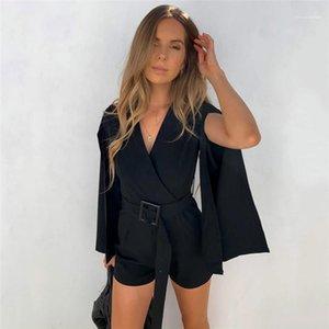 Tasarımcı Suit Tulumlar Moda Sashes Bölünmüş Kol tulum Casual Doğal Renk Kısa Tulumlar Bayan Giyim Womens