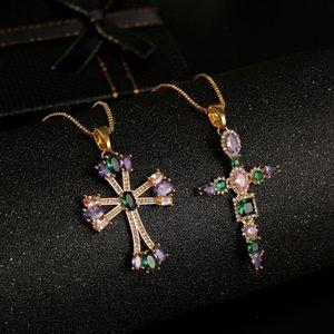 High Quality 2020 Statement Multicolor Cubic Zirconia Cross Necklaces & Pendants Women Fashion Copper Gold Chain Necklace
