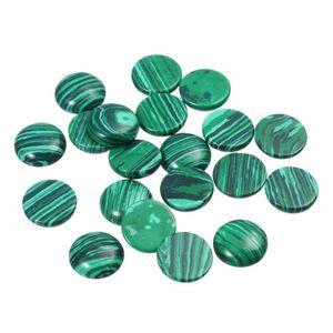 Mayforest 20pcs / lot 6 millimetri 8mm 10mm 12 millimetri Malachite naturale di pietra cammeo cabochon tondo perline fai da te Impostazione monili che fanno i risultati
