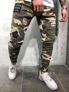Estiramiento largo de los pantalones vaqueros para hombre de los pantalones del lápiz Parches manera fresca para hombre verde del ejército flaco pantalones de camuflaje para hombre