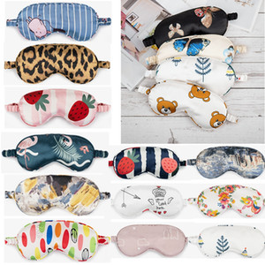 Silk Sleeping Eye Mask Print Shade Eye Cover Natural Soft Relax Travel Portable Sleep Masks HHA1603