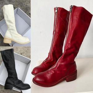 2020 del dedo del pie de alta calidad de la manera de las mujeres Martin botas con suave Ronda Caballo de cuero cremallera frontal del muslo botas y Goodyear Craft Sole PI3 Botas