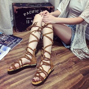 Women Sandals Summer Gladiator Sandals Woman Shoes Cross tied Flat Open Top Lace Up Ankle Strap 988