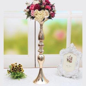 Los titulares de la vela Flower House Tall rack vela Negro Estilo Mediterráneo Glass Road Evento Palos de plomo Resina Cuerno W