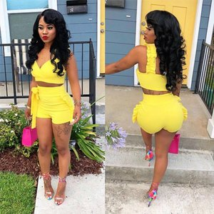 Two Piece Set 2019 Summer women crop tops High Waist Shorts 2pcs Ruffles Bow outfits Ladies Yellow Slim matching Clothes sets