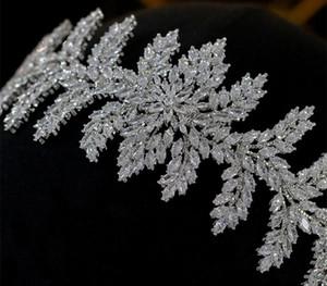 ASNORA Luxury new crown CZ headdress bride headband hair wedding dress with accessories77