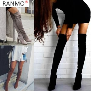 RANMO 2020 New Flock Leather Women Over The Knee Boots Lace Up Sexy High Heels Autumn Woman Shoes Winter Women Boots Size 35-43