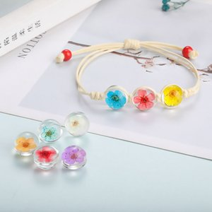 Hot Sale Dried Flower Plant Specimen Bracelets for Women Peach Blossom Glass Ball Cord Lucky Wax String Handmade Braided Bracelet Jewelry