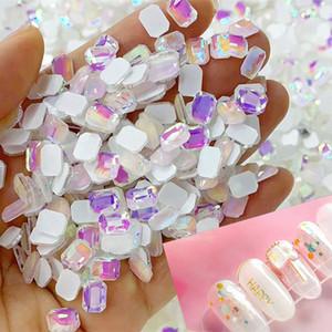 AB Flat Back Glass Nail Art Rhinestones 50pcs Manicure Flat Shaped Magical Shaped Diamonds Japanese AB Mocha Rhinestone, 12