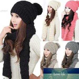 Hot 2Pcs inverno caldo Maglia Sciarpe E Cappelli set per regalo di Donne addensare Cappellino Faux Fur Scarf migliore qualità per San Valentino