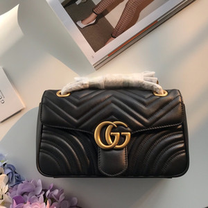 Diseñador de lujo Marmont Las bolsas de alta calidad bolsos suaves señoras del cuero genuino de la cadena bolsas de hombro solo corazón V Wave Classic Crossbody
