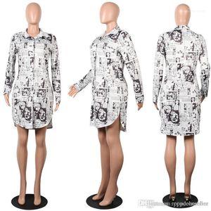 Mid Length Dress Women Summer Designer Dress New European and American Classic Abstract Newspaper Print Shirt Dress Ladies