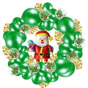 74Pcs / Set Weihnachtskranz Balloons Kette Schildkröte Blatt Sequin Ballon-Set Luftballons Rot Grün Guten Rutsch ins Neue Jahr für Partydekoration