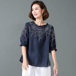 VjpLe GtJRr flojo de la manga de lino T- ropa de verano fina estilo étnico muñeca camisa bordada nacional superior de manga corta de 2020 mujeres de Nueva Lantern'