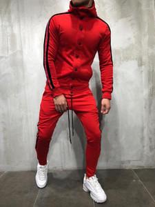 هوديس ملابس أزرار تصميم 2PCS يحدد السراويل الدعاوى الأزياء وتتسابق الهيب هوب رجالي رياضية مصمم مخطط ل