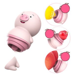 eonpin Cute Pig Female Massager Toys Wireless vibrator Tongue Licking Vibrator Nipple 6 Modes Clitoris Stimulator Female Masturbator