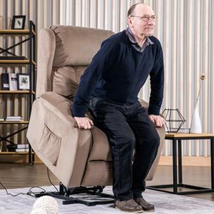 Stock US, livraison gratuite, Oris Fur. Power Lift Soft Chair Tissu d'ameublement Recliner Salon Chaise Canapé avec PP038658EAA à distance