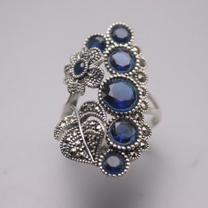 S925 Sterling Silver Ring Women Luck Blue Chalcedony Leaf Flower Ring 34mmW US8